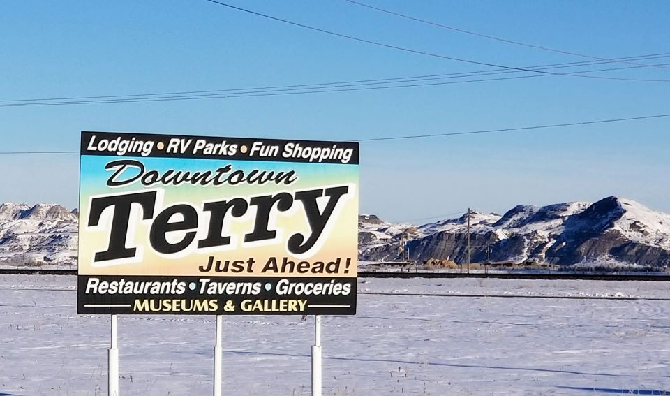 Sign Telling Travelers About The Town of Terry